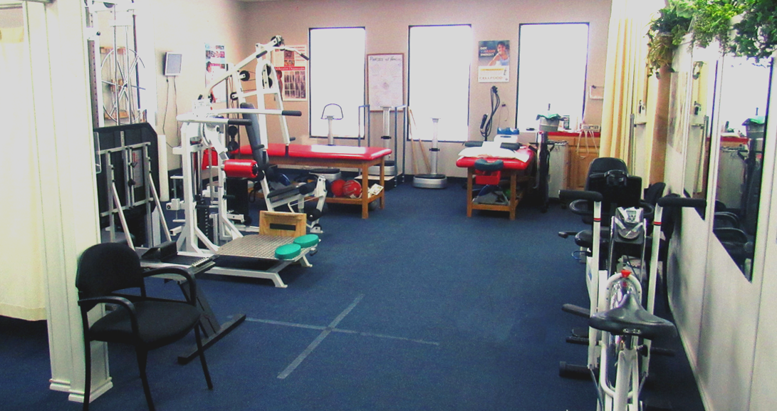Exercise room with a variety of workout machines